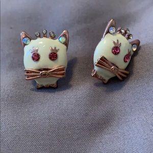 Betsey Johnson pink enamel kitty earrings